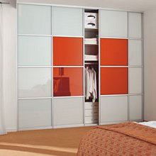 StoreMax Schuifdeur Breed Profiel Wit > Glas Happy Orange  700 mm